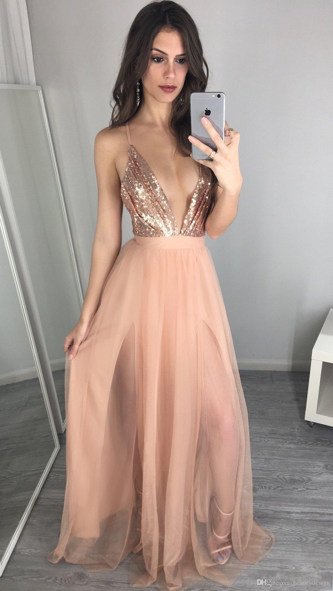 Compre 2018 Lentejuelas De Oro Rosa únicas Vestidos De Baile Sexy Cuello En V Sin Espalda Vestido De Fiesta Vestidos Vestidos De Fiesta De Noche