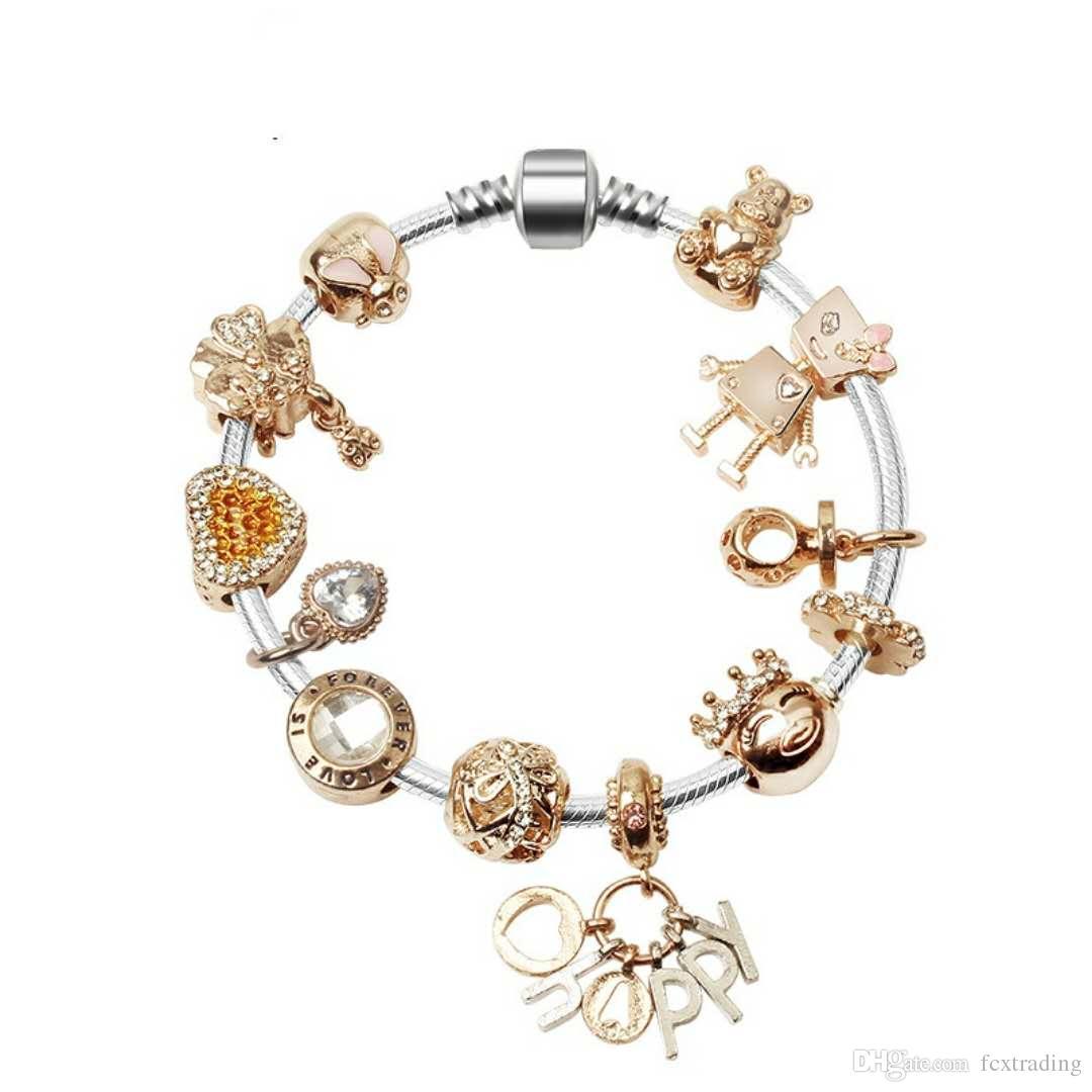 Nuevo 925 encantos de oro rosa de plata de bolas de joyería pulseras europeas Bella accesorios pendientes brazalete de San Valentín regalo de DIY boda