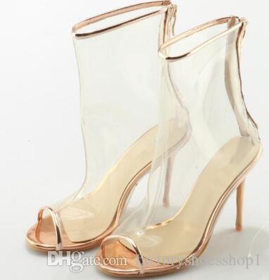 2018 White Peep Toe Pvc Transparent Thin High Heel Summer Feminino Boots Ankle Sexy Zip Up Casual Botas Femeninas Chaussures Femmes