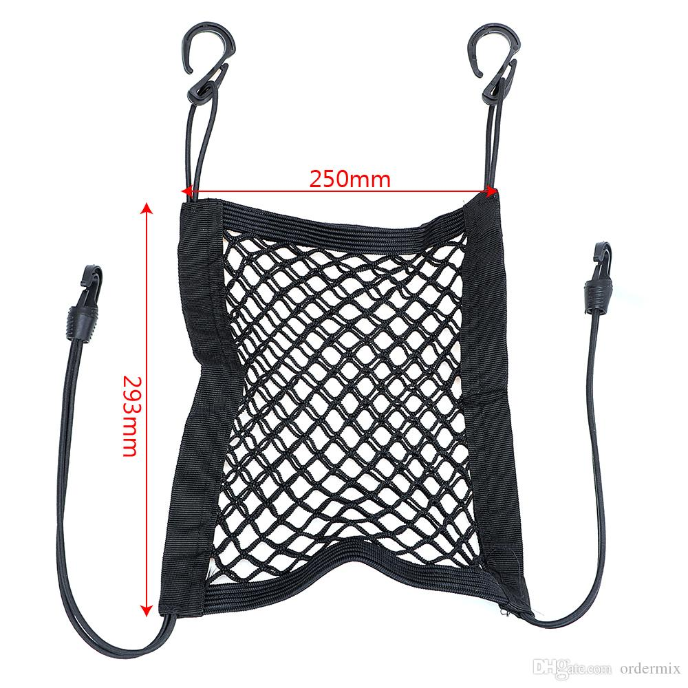 Elastic Car Seat Storage Bag Organizer Bottle Tissue Umbrella Holder Hanging Bag Pocket Black Auto Mesh Net Luggage with Hooks