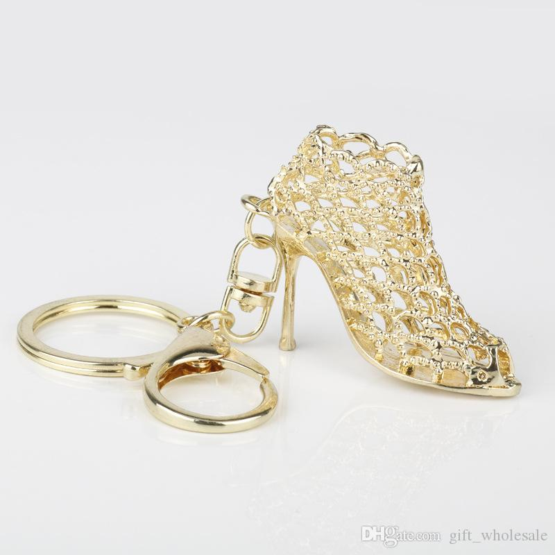 New Creative gifts fashion high heels keychains golden silver key chains popular car key ring unique designer high-heeled shoes keyring
