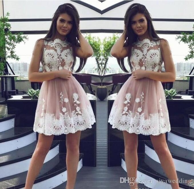 2019 Sexy Sheer Lace Appliqued Short Homecoming Dress Vintage A Line Juniors Sweet 18 Graduation Cocktail Party Dress Plus Size Custom Made