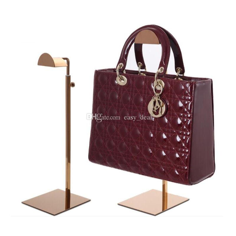 black/rose gold metal handbag display stand adjustable women handbag display stand bag holder rack QW7169
