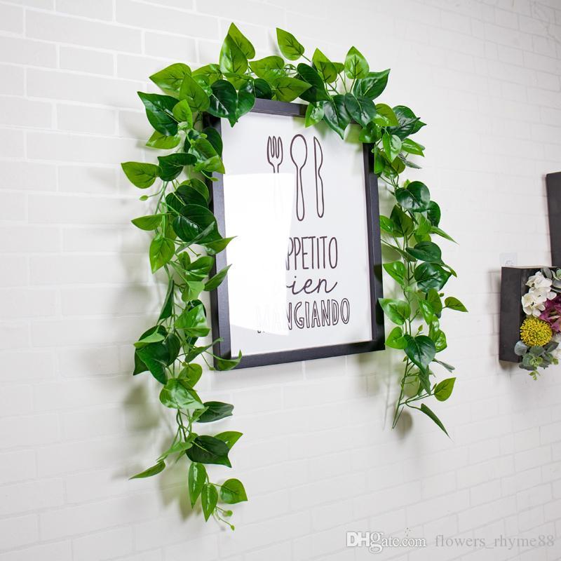 Ipek Gerçek dokunmatik Çelenk Yeşil Yaprak Demir Tel Yapay Çiçek Vine Rattan Düğün Kapalı / Açık Dekor Yeşillik DIY Çelenk Duvar asılı