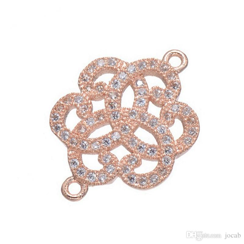 Wholesale Hand Made Jewelry Accessories Fashion Luxury DIY Micro Pave Zircon Copper Metal Charms Connectors Components Bracelet Necklace