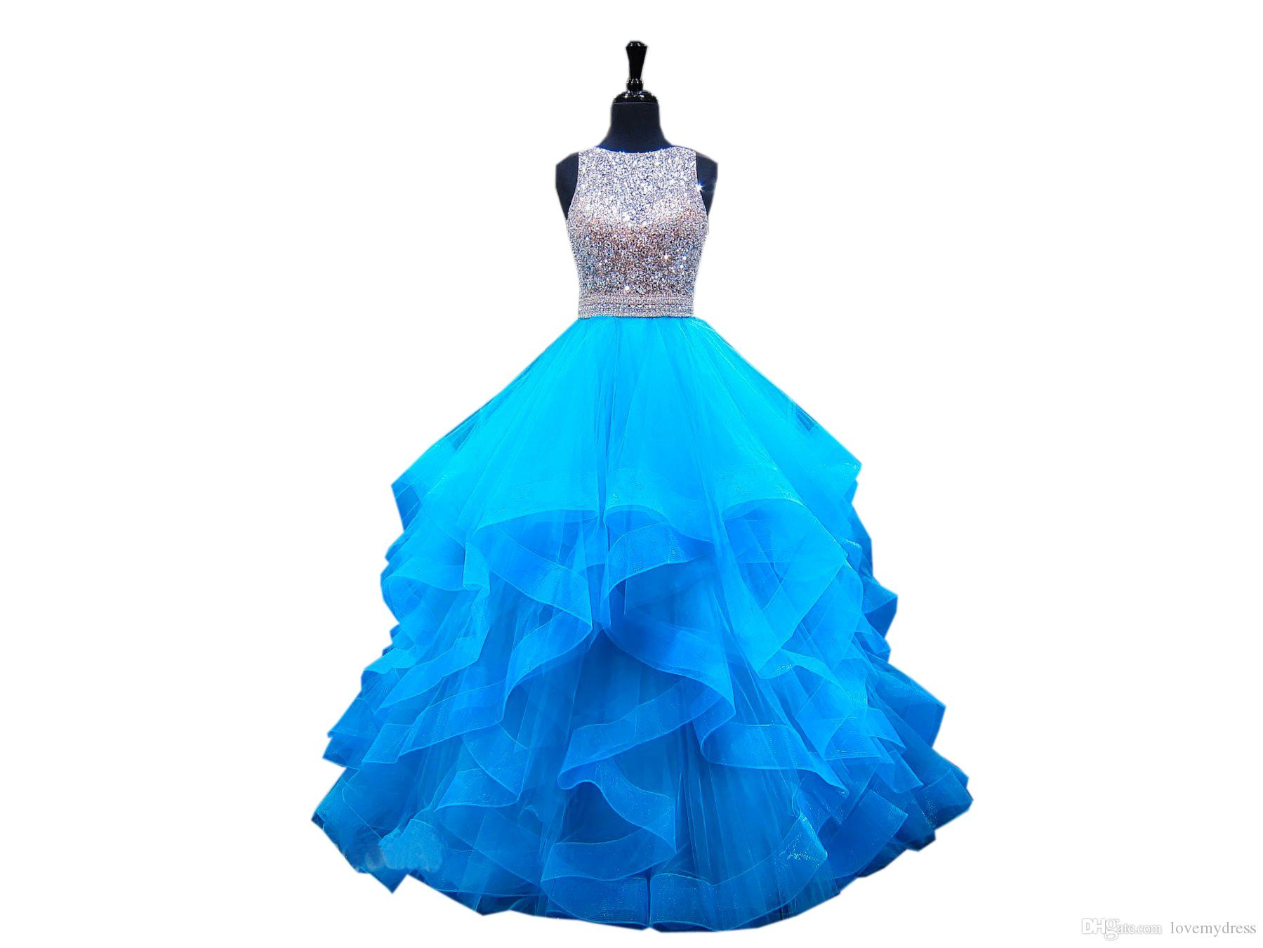 Ruffles Blue Evening Formal Dresses Ball Gown Stylish Jewel Neck Keyhole Back Ruched Tulle Crystal Beading Sequined Cheap Prom dress