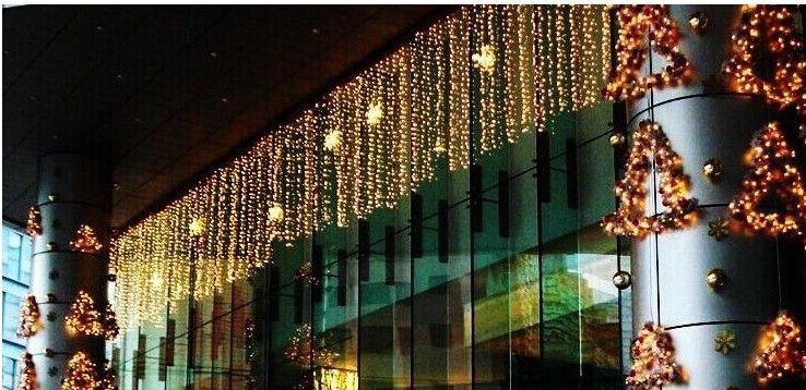جديد 12 متر droop 0.4-0.7 متر 360 led جليد سلسلة ضوء عيد الميلاد الزفاف حزب الديكور الثلج يتساقط الستار ضوء والذيل المكونات