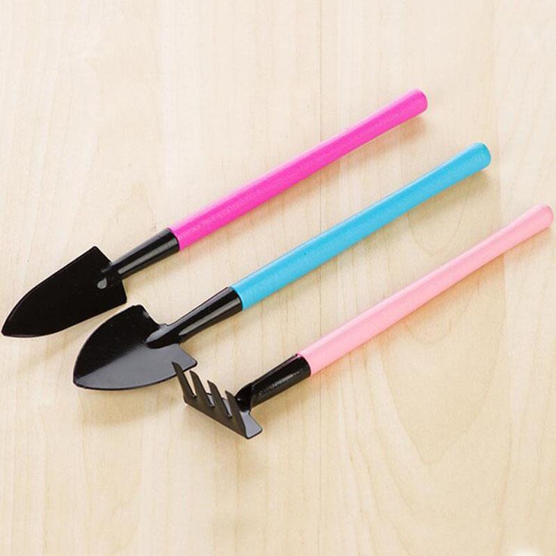 3PCS/SET Mini Shovel Spade Rake Metal Head Garden Gardening Plant Tools Set with Colorful Wooden Handle ZA5755