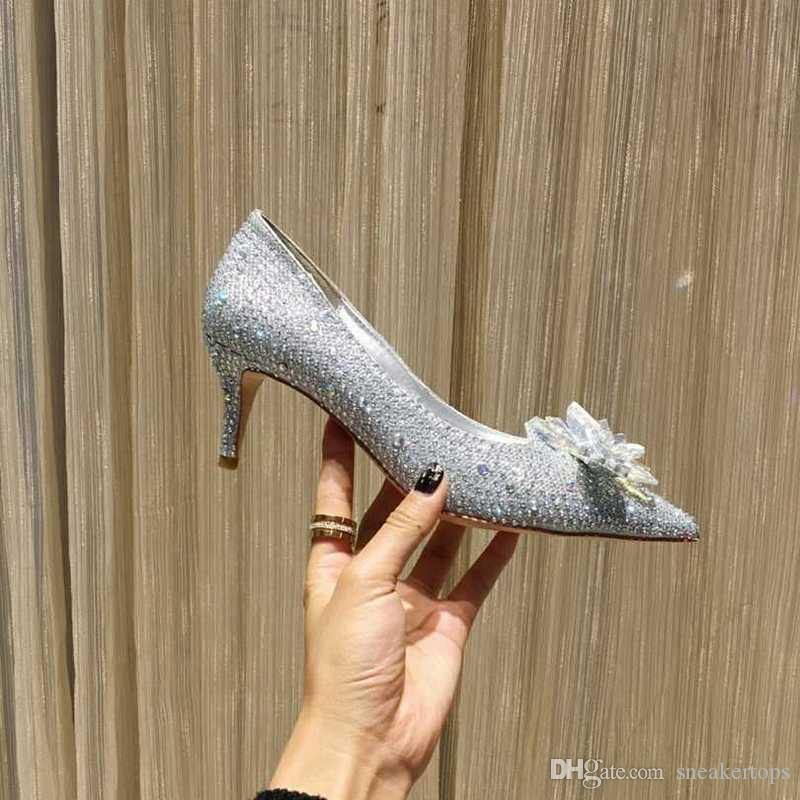 5 Colors Brand Name Girls High Heel Pumps Hot Sell Top Quality Pointed Toe Slip-on Rhinestone Floral Genuine Leather Sexy Women Dress Shoes