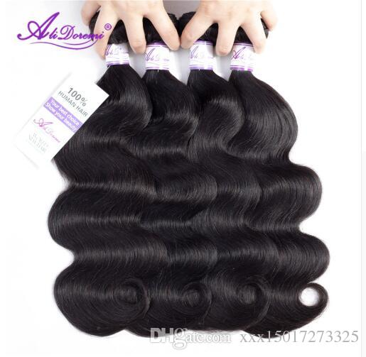 Brazilian Body Wave Hair Bundles 100% Human Hairs Weave Natural Color Alidoremi Non Remy Hairing 8-30 Inch hair wefts