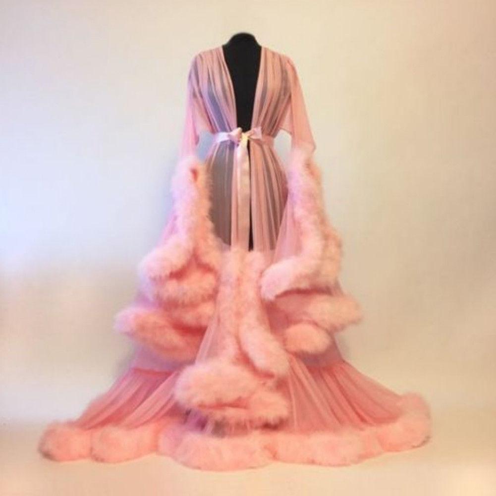 Winter Damen Warm Bademantel Nachthemd Nachtwäsche V-Ausschnitt Lace Up Nachtkleid
