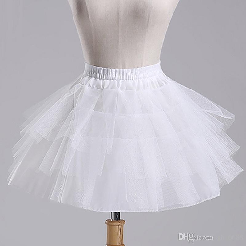 A buon mercato Bianco A-Line Short sottoveste Crinoline, vestito a fiori ragazza sottoveste, gonna di trambusto, trambusto disossato, sottogonna nuziale breve sottoveste