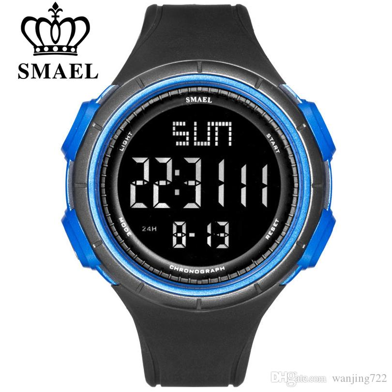 SMAEL LED большое количество многофункциональный спортивные наручные часы PU ремешок мужские цифровые водонепроницаемые часы мужские хронограф