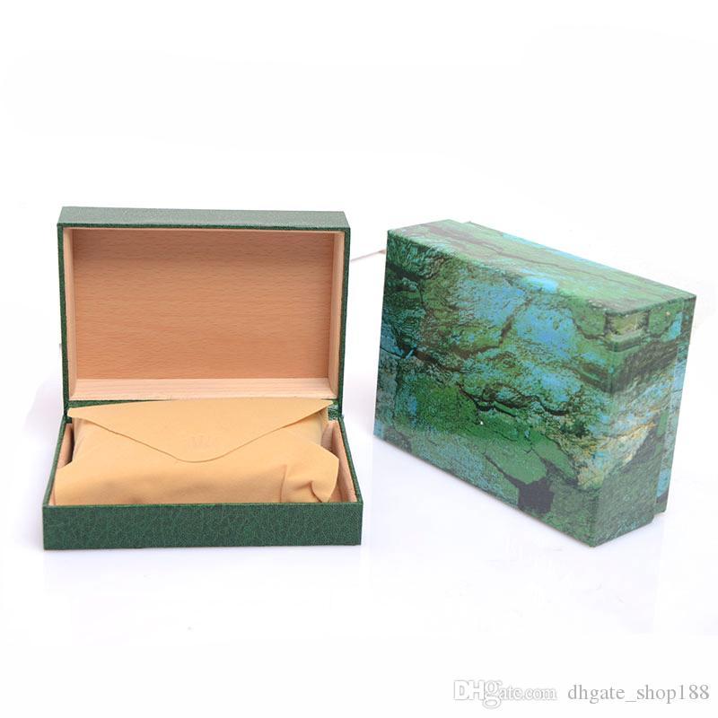 Drop shipping Scatole per orologi da uomo Scatole per orologi Scatola da interno in legno verde Scatole per orologi da uomo Spedizione gratuita