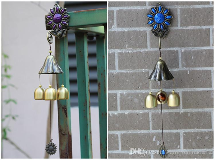 Wholesale Antique Sun Flower Wind Chimes Supplies With 3/6 Copper Bells Garden Home Wall Hanging Decoration Crafts Birthday Gifts