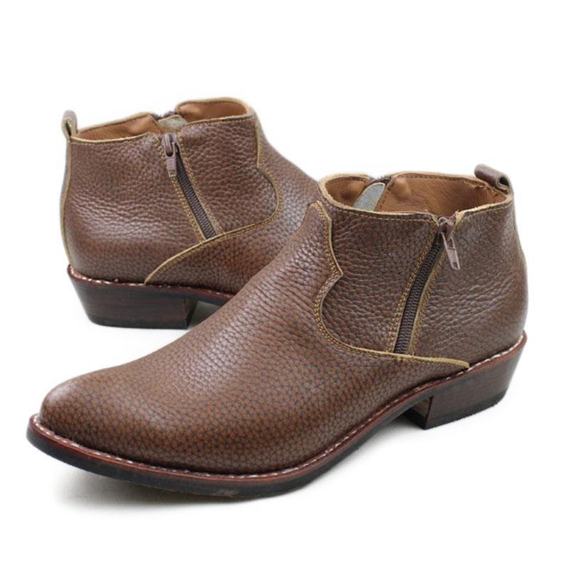 Novità 2018 Stivali da esterno per cucire Botas Stivali western da cowboy Zip alla caviglia Stivali di lavoro in vera pelle di vacchetta marrone Uomo taglia grande 44