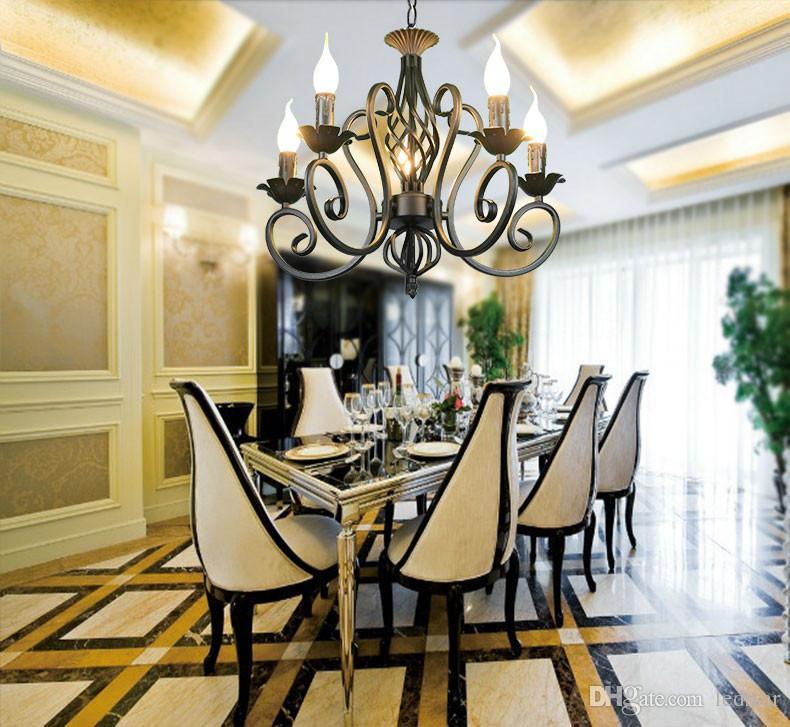Lampadario di cristallo rustico di lusso in ferro Vintage lampada a sospensione catena bianca antica prezzo di casa 3/5/6/8 * E14 LED Light