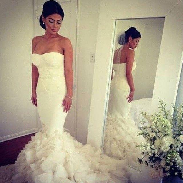 Kim Kardashian Wedding Dress Romantic Strapless Long White Organza sweetheart Mermaid Bridal Gowns Robe De Marriage 2018