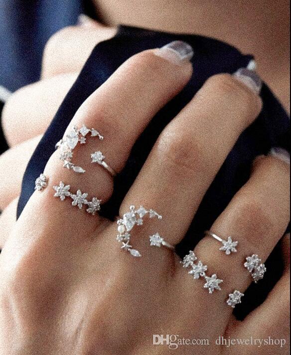 5 Шт. / Компл. Moon Star Шинни Кристалл Кольца Женщины Старинные Свадебные Костяшки Бохо Цветочное Кольцо Богемный Midi Палец Кольцо Ювелирные Подарки