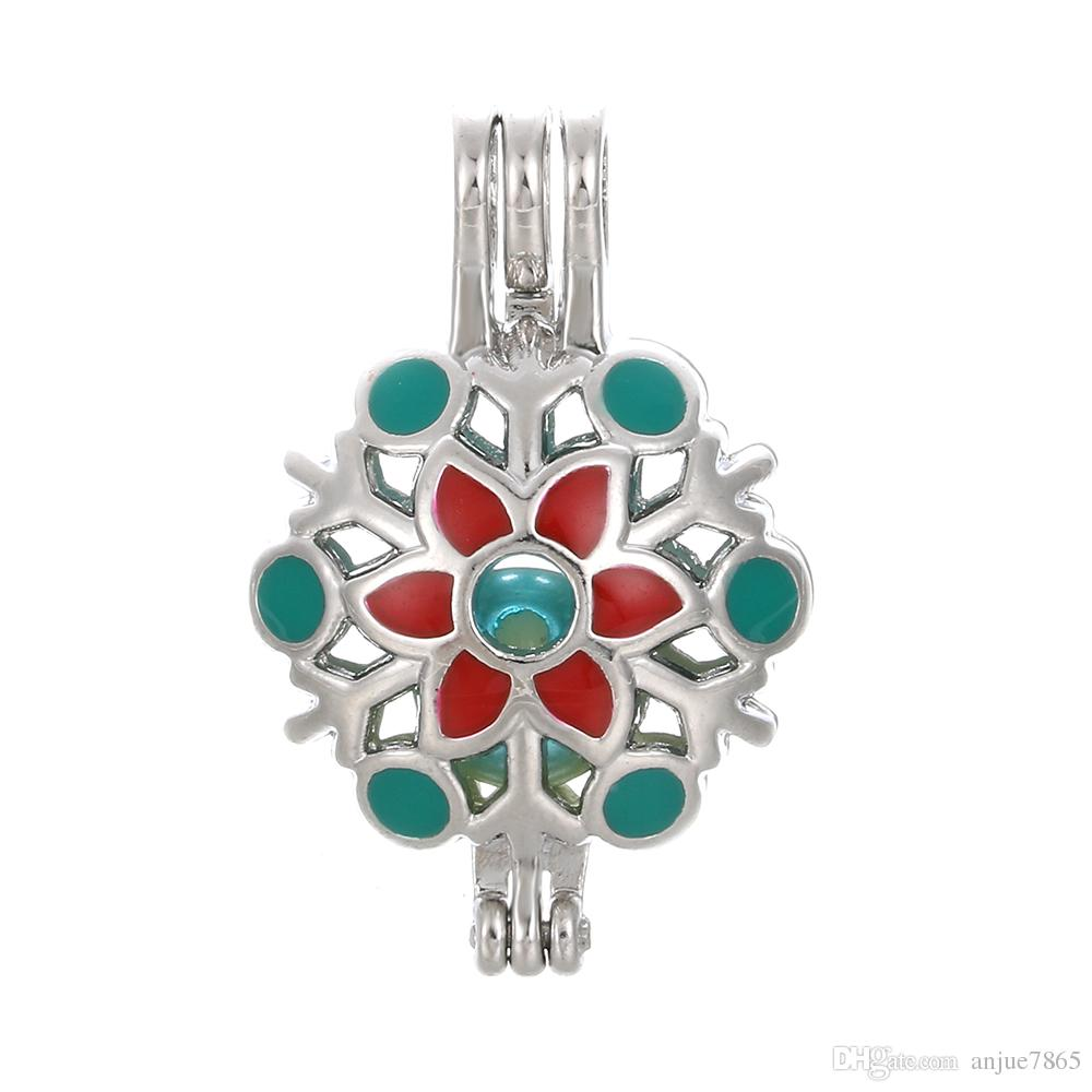 10pcs Colorful Enamel Snowflake Pearl Cage Beads Cage Essential Oil Diffuser Locket Pendant DIY Jewelry Making for Oyster Pearl Gifts