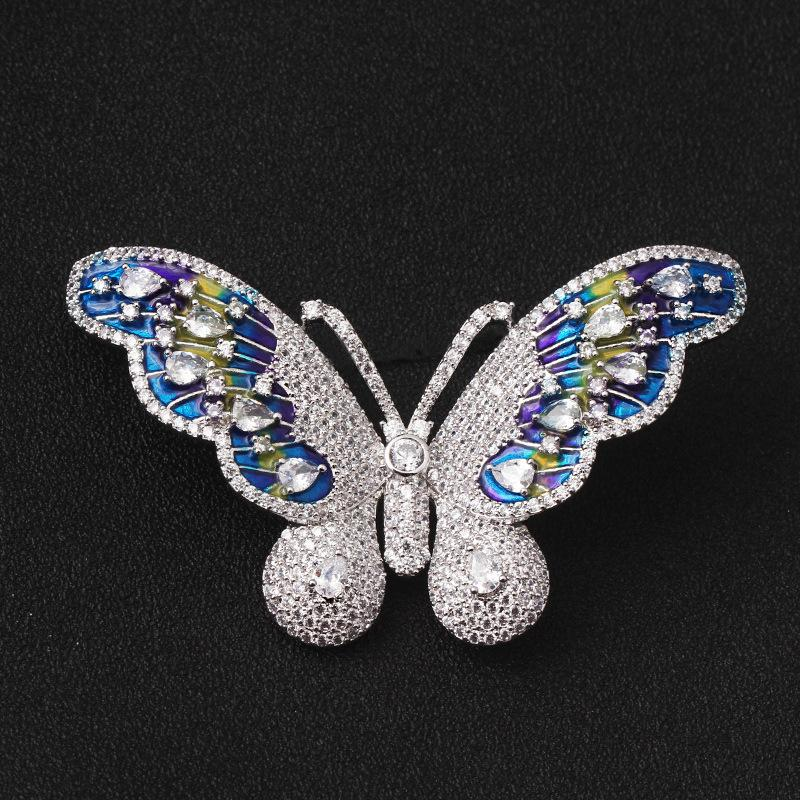 Korean Edition Fashion Butterfly Crystal Broth Brooch Pin Cardigan Loose Coat Shawl Buckle Accessories Product High Files Brooch A911