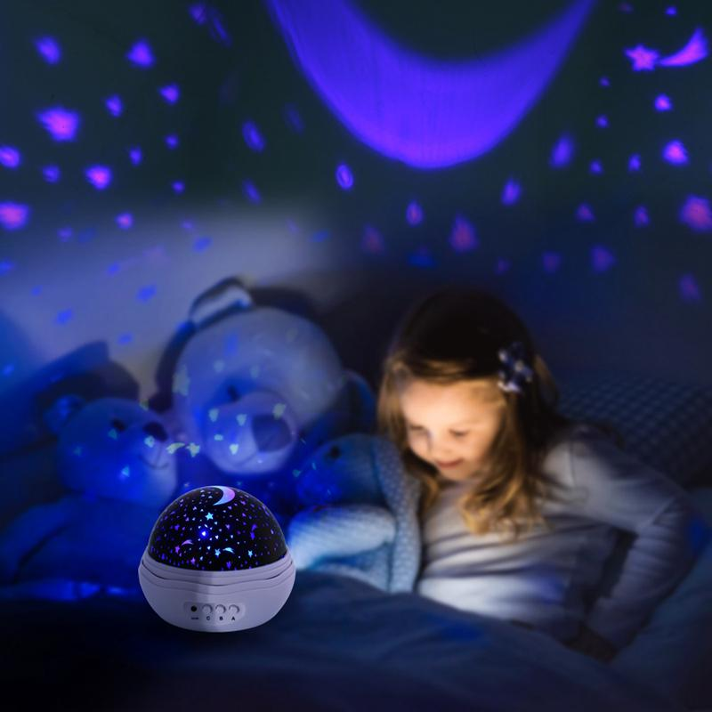 New Rose Flower Shape Star Moon Sky Rotating Projector Night Light Romantic Projector Novelty Night Light for Baby Bedroom Decoration