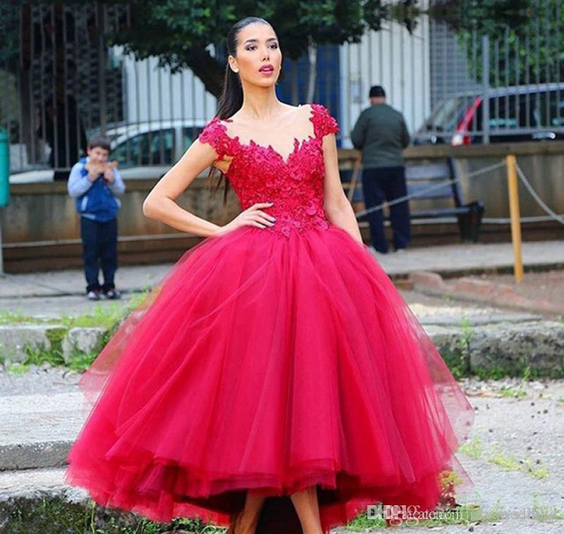 Red Evening Dress Jewel Sheer Neck Applique Tiered Ruffle Formal Holiday Wear Prom Party Gown Custom Made Plus Size