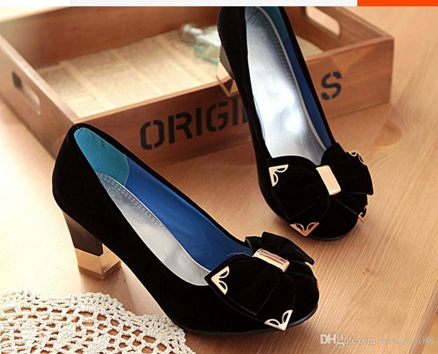 Free send Hot Spring and autumn Single shoes Coarse heel high heel women's shoes big size 40--45 yards Small code 32 33 yards