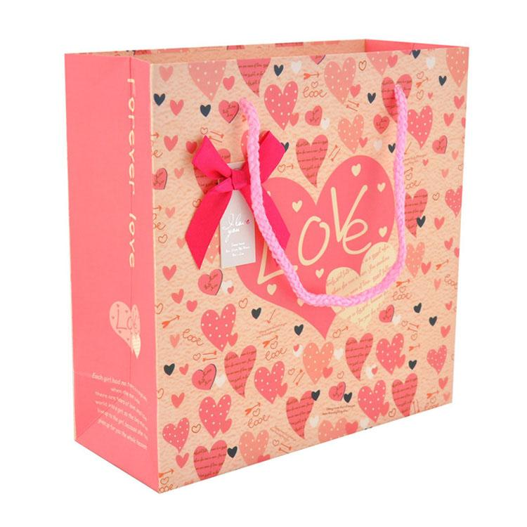 premium love gift paper tote with custom full color printing medium size personalized design boutique retail shopping bags
