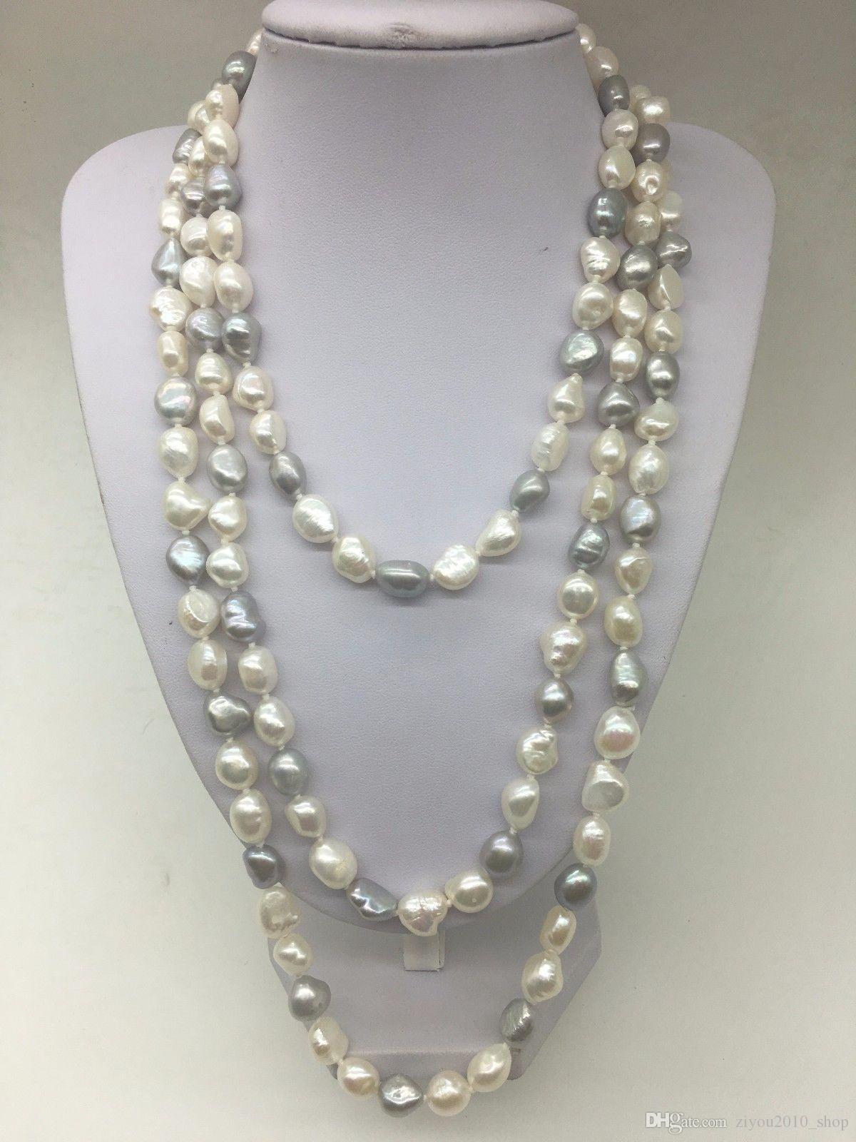 Bella mano a mano bianco grigio barocco perle d'acqua dolce naturale reale involucro collana di gioielli moda lungo 160 centimetri