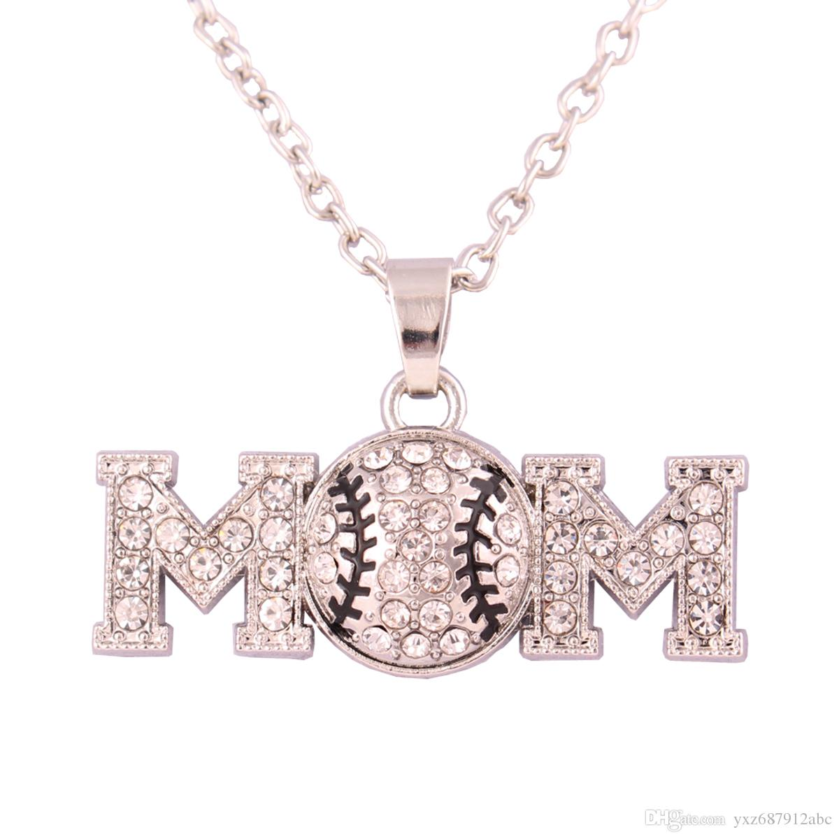 Sporty Rhinestone Baseball Mom Pendent Necklace Gift for Her / Gift Under Ten Clear Crystals with Black Enamel