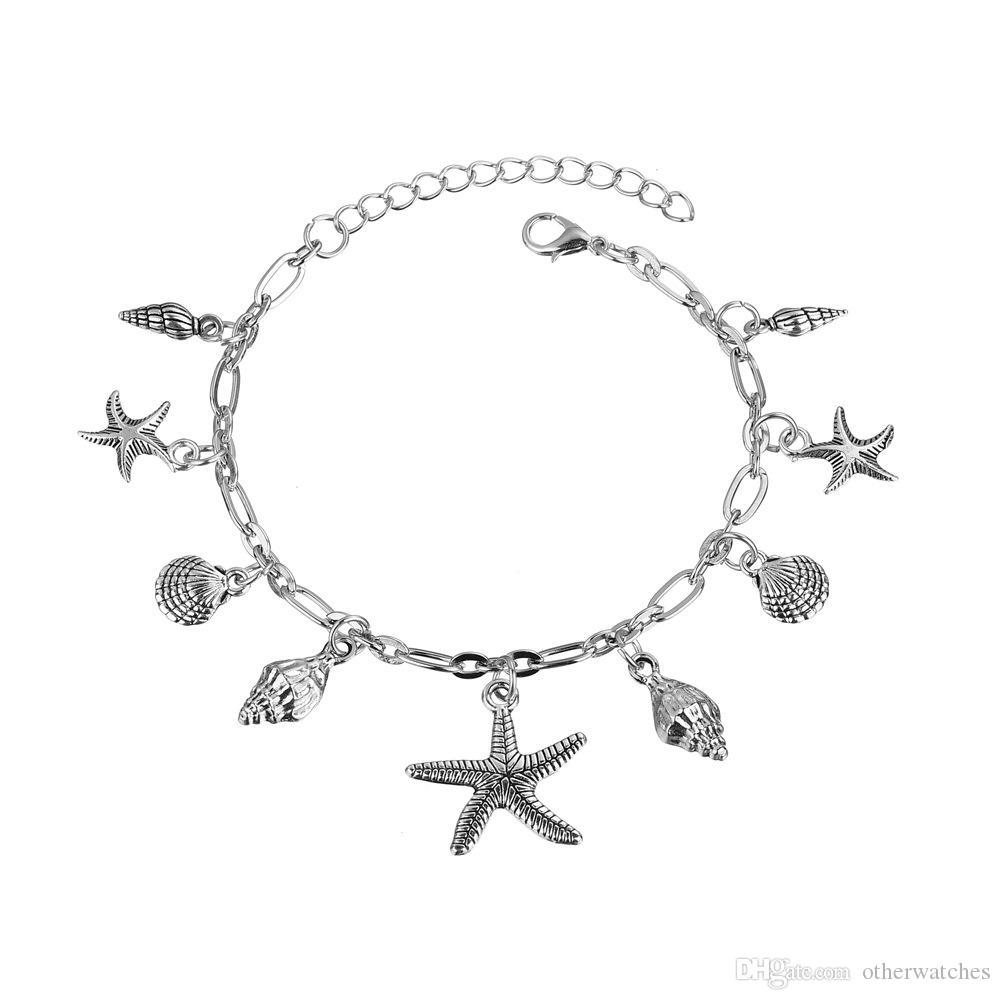 Sea star shell кулон модные ноги цепи кисточкой цепи браслеты