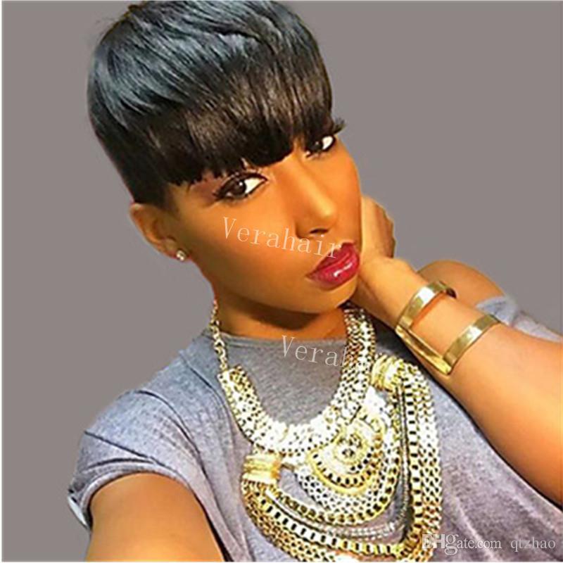 Pixie cortar perucas de cabelo humano curto para as mulheres negras bob frente perucas cheias do laço com o cabelo do bebê para os africanos perucas para as mulheres negras