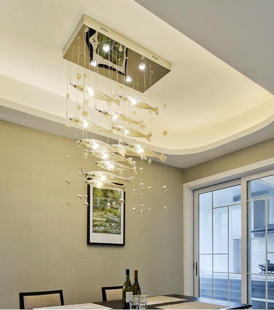 Lustres peixes de vidro LED pós-moderna de voo moderno Sala de jantar Bar Luzes pendentes Crystal Clear Cor Fishes candeeiros de tecto