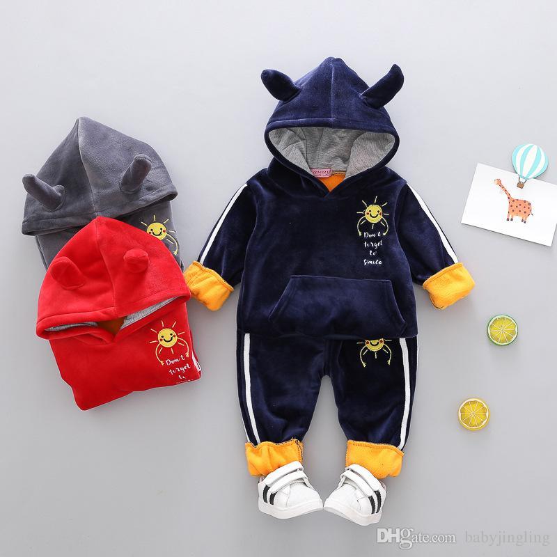 New Baby boys girls Autumn Winter clothes set kids cartoon sun thicken hoodies +pants 2pcs suits children plus velvet tracksuit