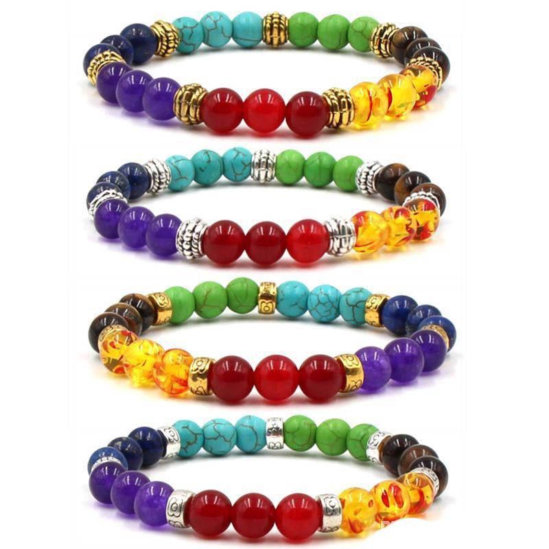 4 Styles Natural Stone Beads Bracelet Colorful Beaded 7 Chakra Bangle Good Luck Bracelet Women Men Fashion Jewelry Valentine's Gift