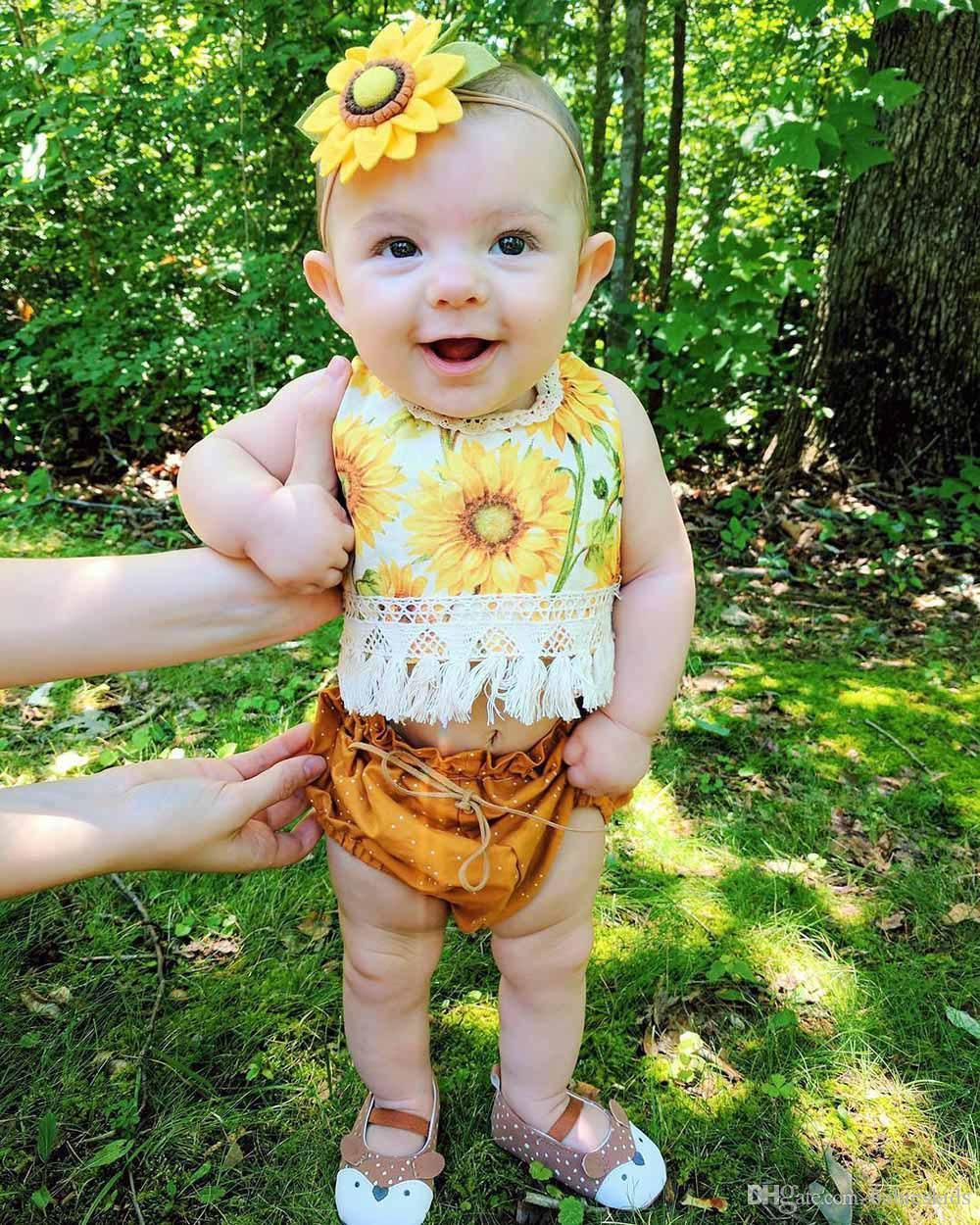 Bebé recién nacido ropa Conjuntos Tops pantalones florales 2 pcs bebés y niños pequeños cordón de la borla de la ropa linda juego del bebé de la ropa de moda