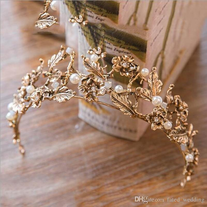 Vintage Gold Baroque Crowns For Party 2018 Pearls Wedding Crown Tiaras With Plant Pattern Cheap Bridal Headpiece Flowers Crown Headband
