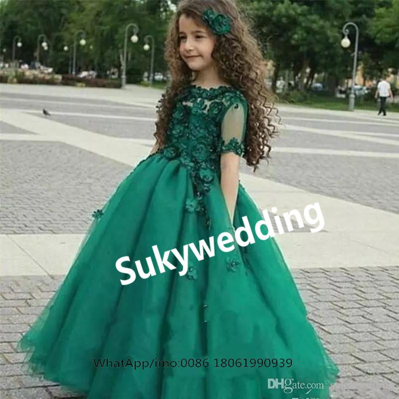Hunter Green Girls Pageant Dresses Bateau Appliques Half Sleeve Kids Formal Ball Gown Flower Girl Formal Party Gowns For Teens Kids