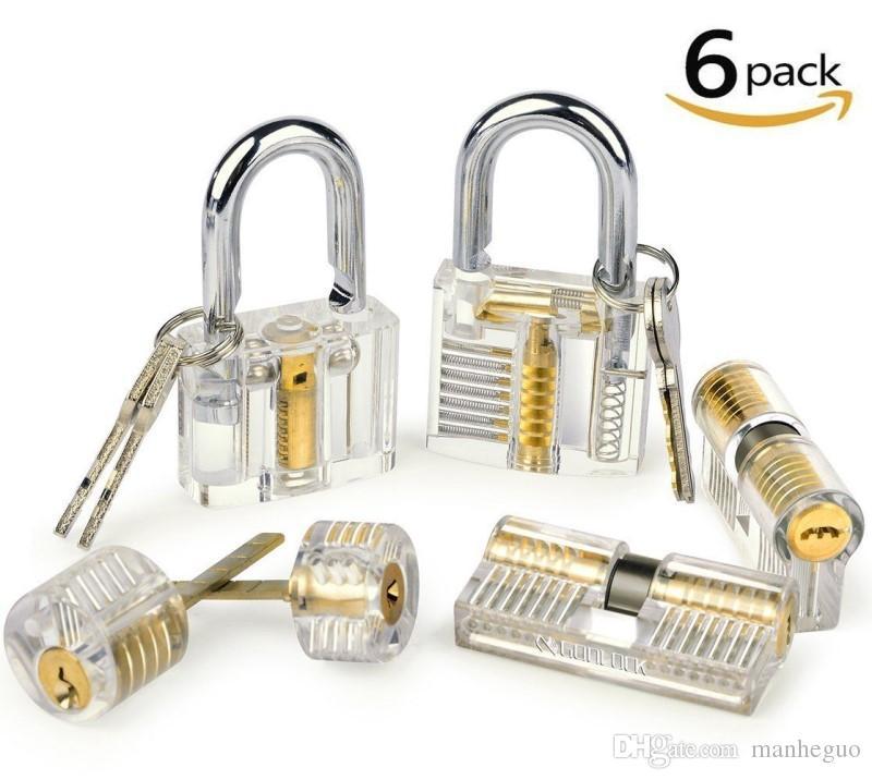 6pcs Practice Lock Set Transparent Visible Cutaway Padlock Lock Picking Training Skill Set