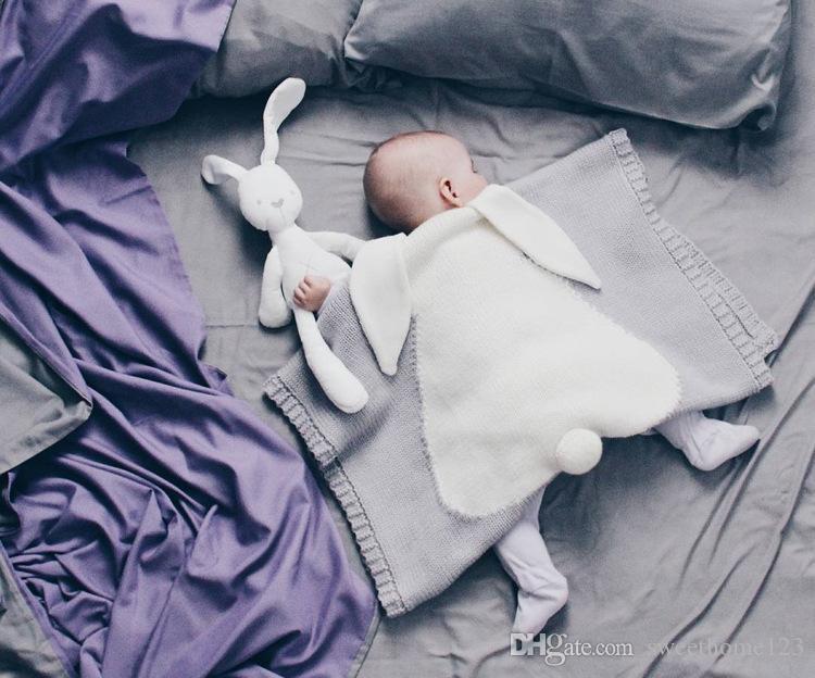 """5 Farbe Ins Stil Neugeborenen gestrickte Decke Soft Acryl Cute Bunny Ohr Quilt Tröster Decke 28 """"* 42"""" Babydecke Windeln"""