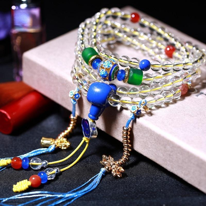 Natural Crystal 6mm Rock Crystal White Quartz 108 Beads Tibetan Buddha Prayer Mala Bracelet For Woman Men Buddhist Jewelry J2389