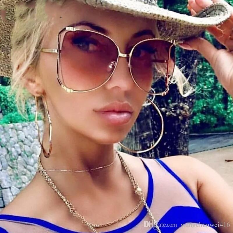 Óculos de sol de luxo óculos de Moda Decoração de pérolas Meio Quadro Mulheres Moda Óculos de sol gigante Senhoras claras tons rosa