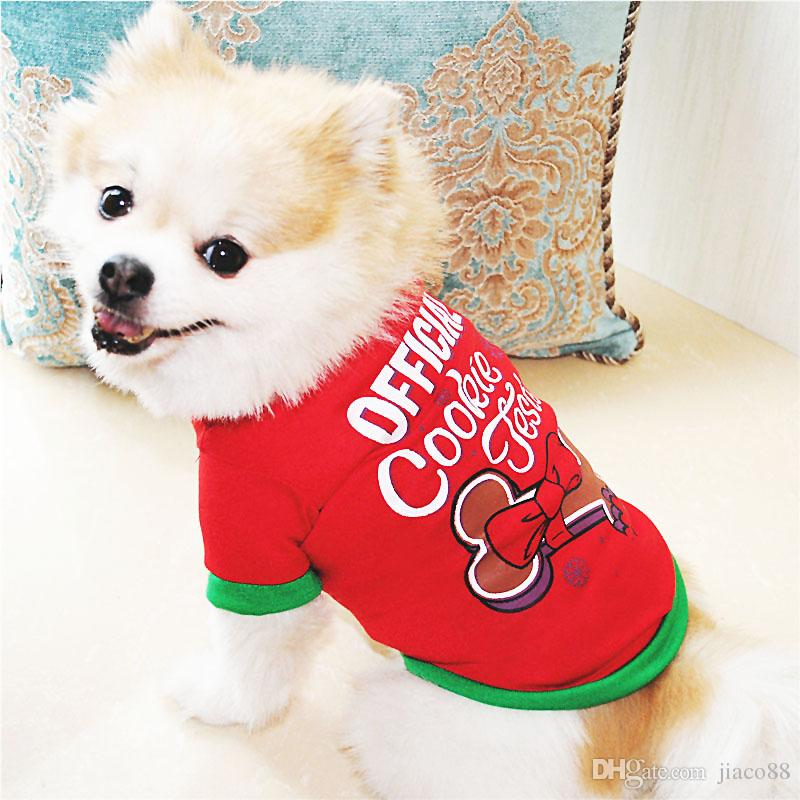 Cute Pet Dog Christmas Gifts Clothes Green Dog Apparel Cartoon Clothing Cotton T shirt Jumpsuit Puppy Outfit Pet Supplie In-Stock DHL Free