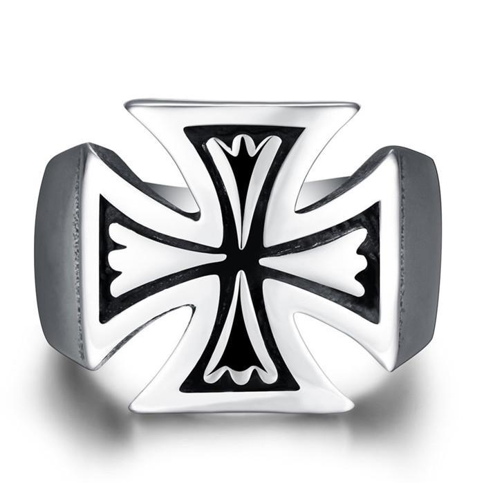 Estilo del punk rock del anillo de dedo cruzado del acero inoxidable caliente 316L para los hombres Tamaño fresco del diseño 8-12 # R231