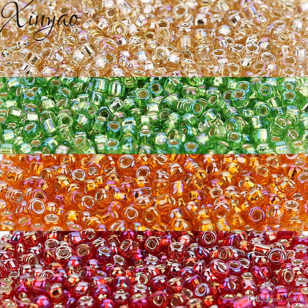 XINYAO 2018 3000 adet Kırmızı / Yeşil / Turuncu Renk Tohum Cam Boncuk Takı Yapımı Için 4mm Bling Spacer Kristal Boncuklar Perles Berloque