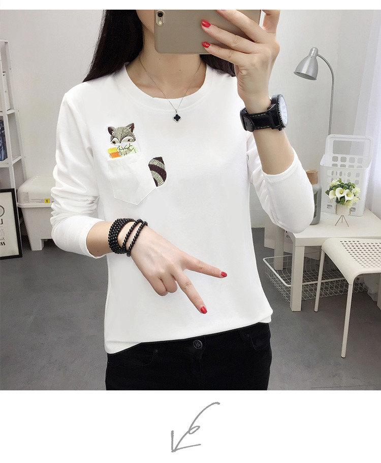 Embroidery T-shirts Women Tshirt O-neck Long Sleeve T-shirts Women Autumn Tops Tee Shirt Femme 2019 Cotton Camisetas Large Size (13)