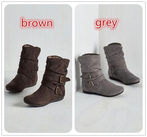 más fotos 72132 1d084 Compre Zapatos Planos De Moda Para Mujer Botas Dama Botines De Moda Zapatos  Con Cinturón De Hebilla WIinter Mantener Botas Cálidas A $39.2 Del ...