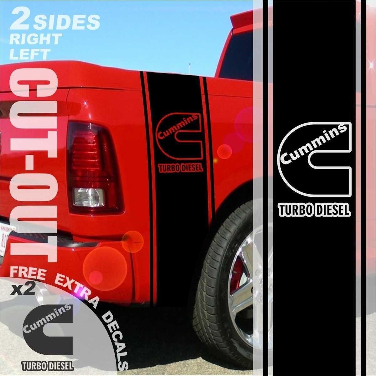 Diesel Powered Truck Rear Bed Stripes Stripe Graphics 2500 3500