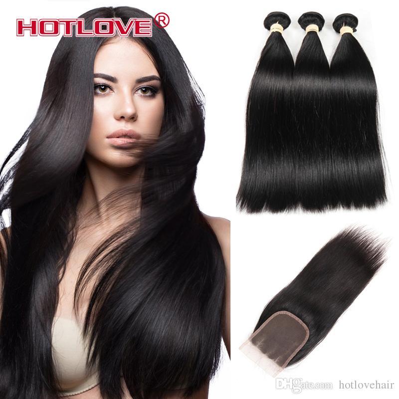 Hotlove Hair Peruvian Straight Human Hair Bundles With Lace Closure Middle/Free/ Three Part Natural Black 3 Bundles Hair & Closure Hot Sale